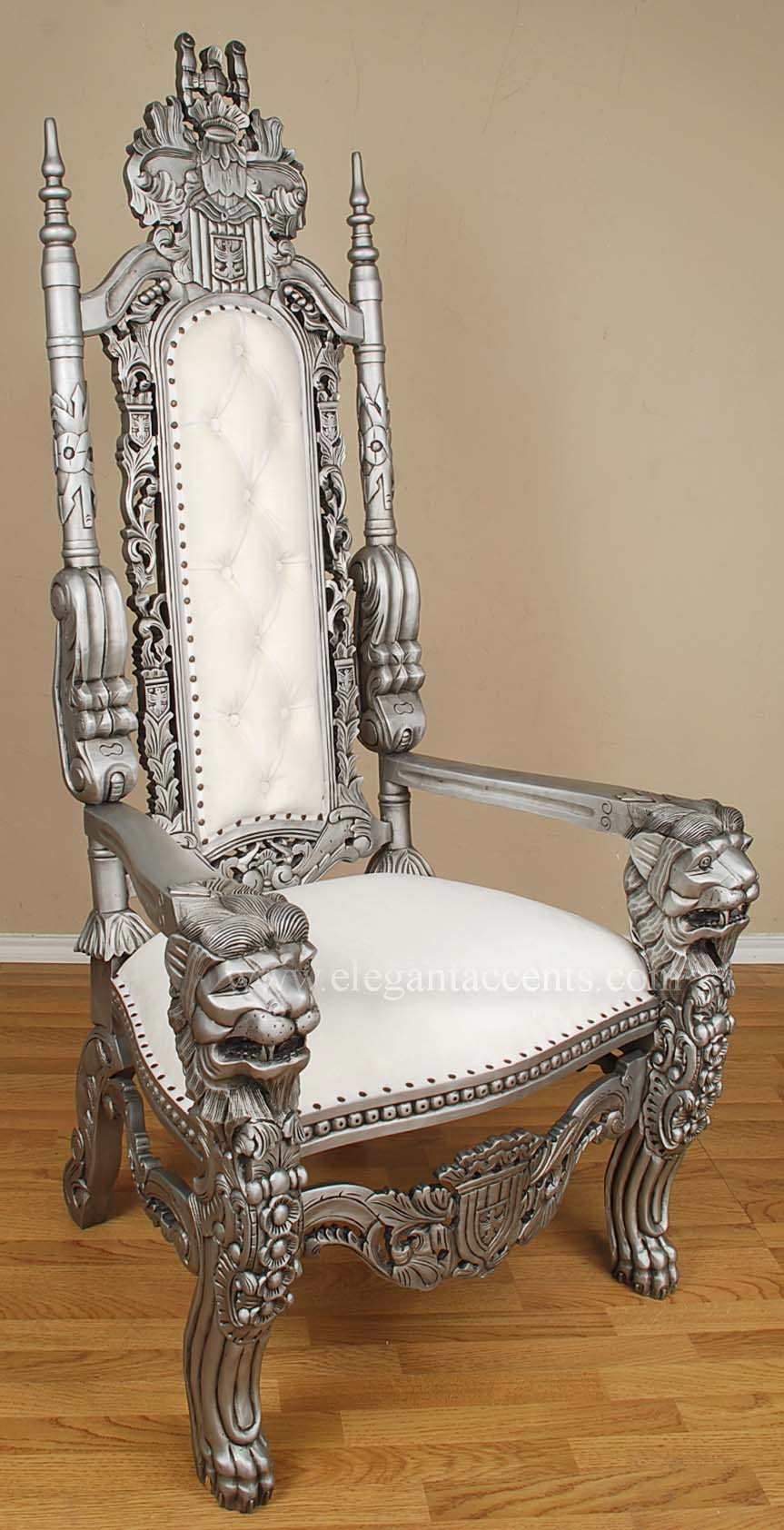 king lion throne chair - silver & white