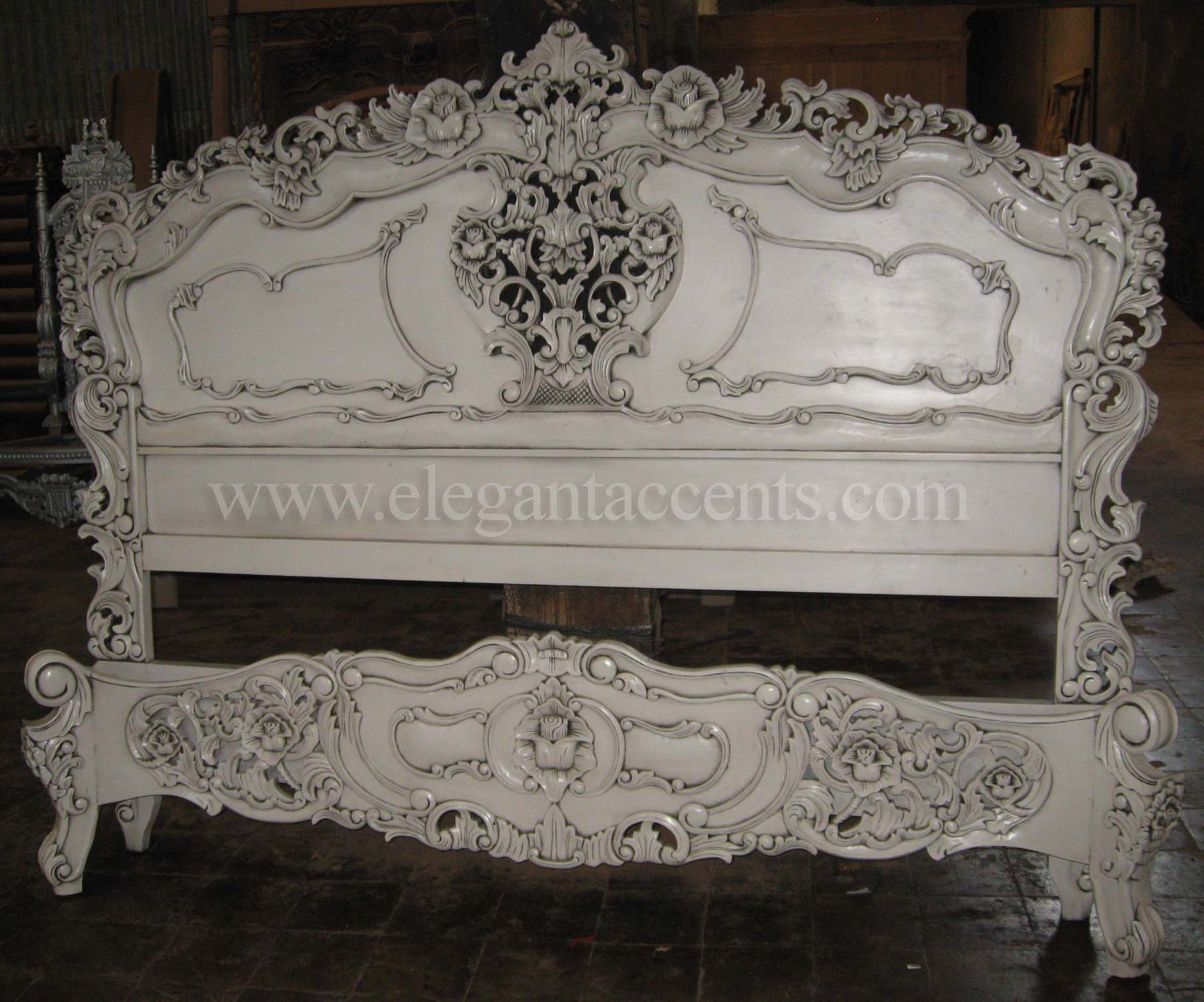 Rococo bed king size white for French baroque bed