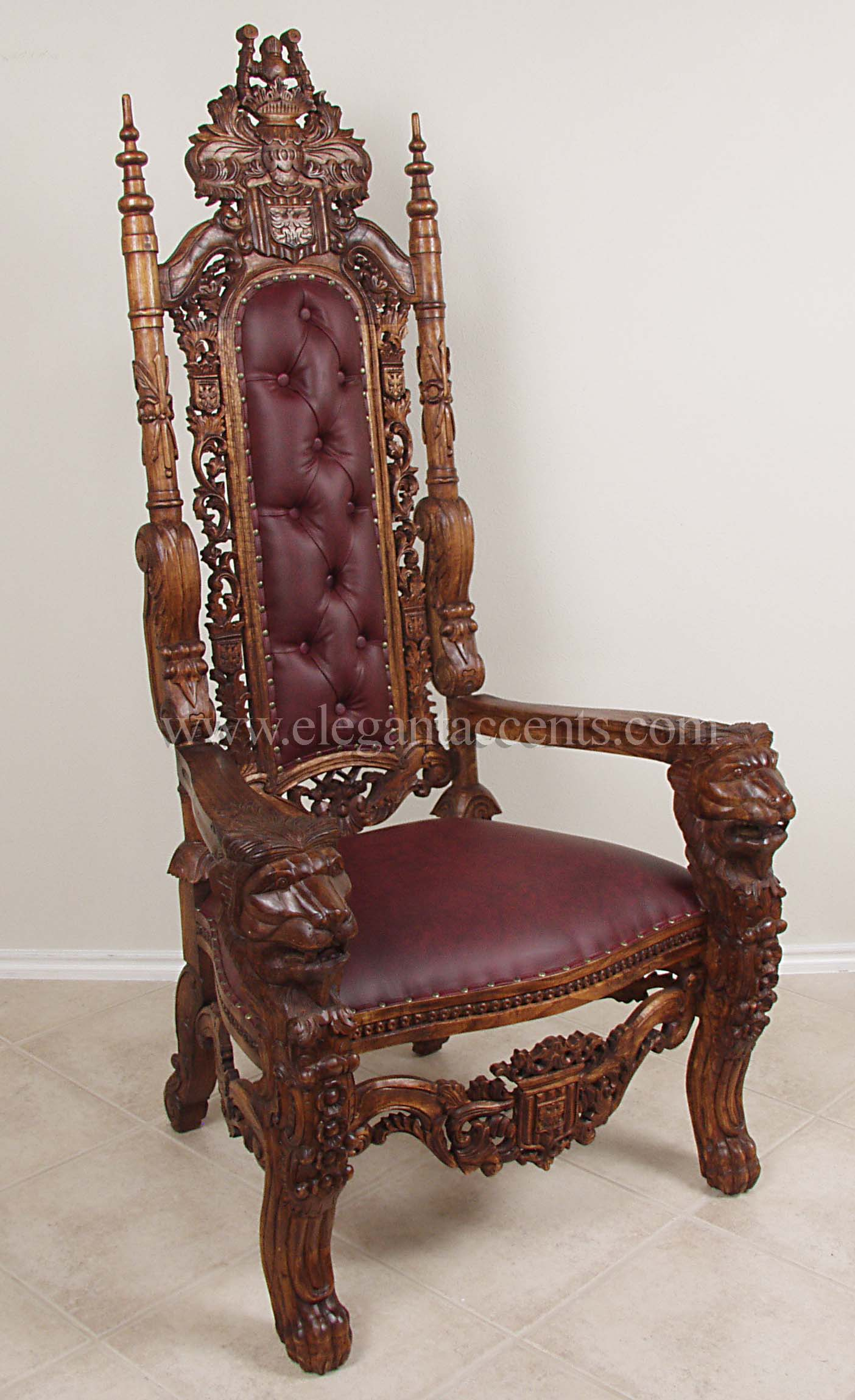 king lion throne chair - wax & burgundy