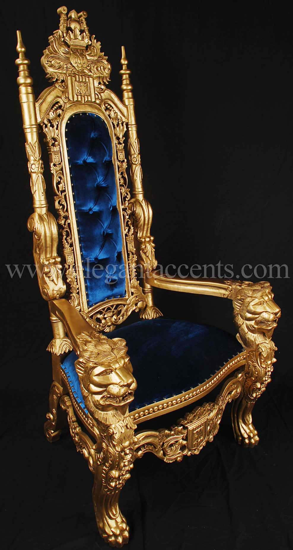 King lion throne chair gold amp blue